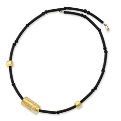 14K Gold Murano Glass Bead, Onyx & Rubber Necklace. Price: $53.10