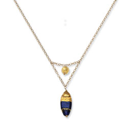 14K Gold Murano Glass Bead V Necklace. Price: $280.52