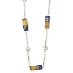 14K Gold Pearl & Murano Glass Bead Necklace. Price: $272.84