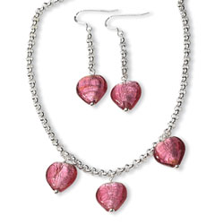 Sterling Silver Pink Murano Glass Heart Earrings And Necklace Set. Price: $175.46