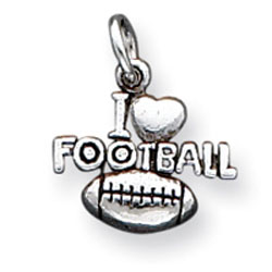 Sterling Silver Antique I Heart Football Charm. Price: $14.34