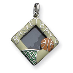 Sterling Silver Enameled Basketball Picture Frame Charm. Price: $17.16