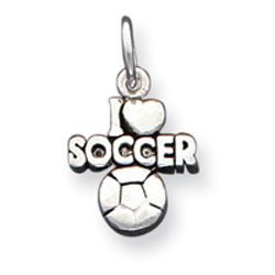 Sterling Silver Antique I Heart Soccer Charm. Price: $14.28