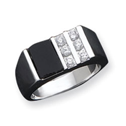 Sterling Silver Men's CZ and Onyx Ring. Price: $69.00