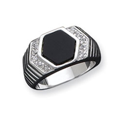 Sterling Silver Men's CZ And Onyx Ring. Price: $71.84