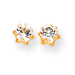 14K Gold 5mm Synthetic White Topaz Earrings. Price: $43.58