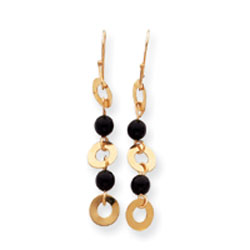 14K Gold Onyx & Gold Dangle Earrings. Price: $70.34