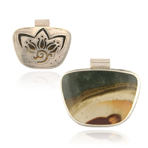 Sterling Silver Scenic  Jasper Pendant  With Pierced Back. Price: $350.00