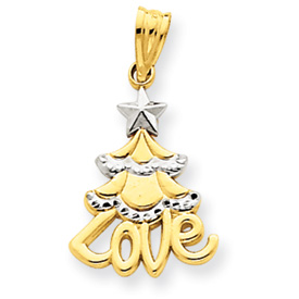 14K Gold & Rhodium Christmas Tree Love Pendant. Price: $66.46