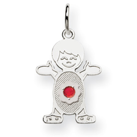 14K White Gold Boy 2.5mm Synthetic January Charm. Price: $81.52