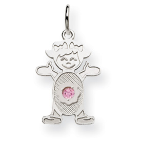 14K White Gold Girl 2.5mm Synthetic February Charm. Price: $82.38