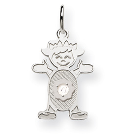 14K White Gold Girl 2.5mm Synthetic April Charm. Price: $81.52