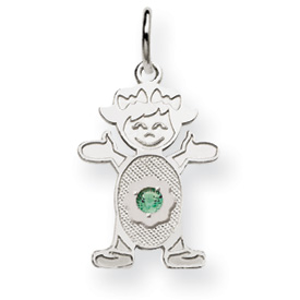 14K White Gold  Girl 2.5mm Synthetic May Charm. Price: $81.52