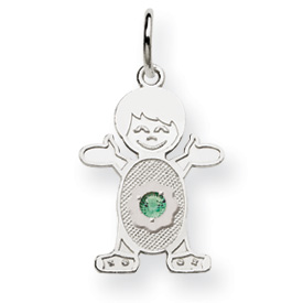 14K White Gold Boy 2.5mm Synthetic May Charm. Price: $81.52