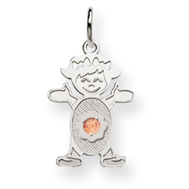 14K White Gold  Girl 2.5mm Synthetic June Charm. Price: $81.52