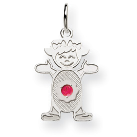 14K White Gold Girl 2.5mm Synthetic July Charm. Price: $81.52