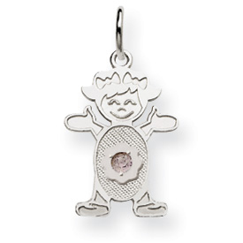 14K White Gold Girl 2.5mm Synthetic December Charm. Price: $81.52