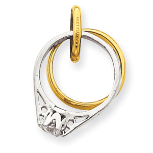 14K Two-Tone Gold Wedding Rings With CZ Charm. Price: $129.22