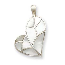 Sterling Silver White Stone Heart Pendant. Price: $55.38