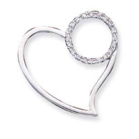 Sterling Silver CZ Heart Pendant. Price: $43.72