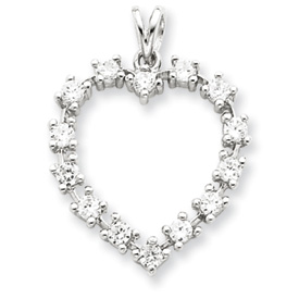 Sterling Silver CZ Heart Pendant. Price: $45.78