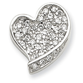 Sterling Silver CZ Heart Pendant. Price: $53.58