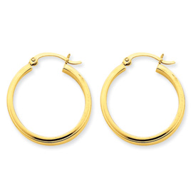 14K Gold 2x3mm Rectangle Tube Hoops. Price: $172.60