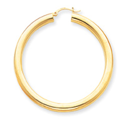 14K Gold  Polished 5x55mm Tube Hoop Earrings. Price: $735.10