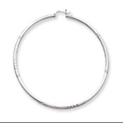 14K White Gold Satin & Diamond-Cut 2x65mm Round Hoop Earrings. Price: $276.02