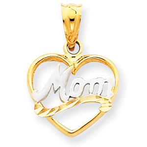 14K  Gold & Rhodium Mom Heart Pendant. Price: $72.40