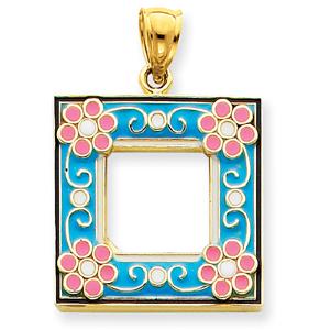 14K Gold Aqua Enameled Picture Frame Pendant. Price: $341.26
