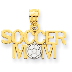 14K Gold And Rhodium Soccer Mom Pendant. Price: $53.12
