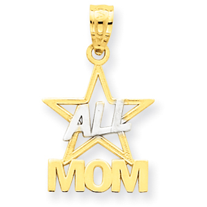 14K Gold And Rhodium All Star Mom Pendant. Price: $49.18