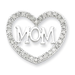 Sterling Silver CZ Mom Heart Slide. Price: $110.34