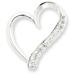 Sterling Silver CZ Heart Pendant. Price: $44.90