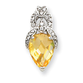 Sterling Silver Yellow And Clear CZ Pendant Slide. Price: $40.12
