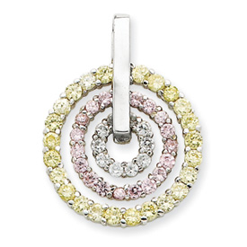 Sterling Silver Yellow & Pink CZ Pendant. Price: $49.72