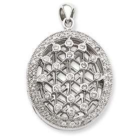 Sterling Silver CZ Locket Pendant. Price: $79.42