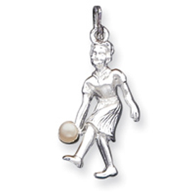 Sterling Silver Lady Bowler With Synthetic Pearl Charm. Price: $26.25