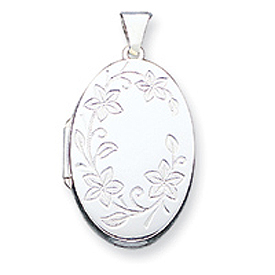 Sterling Silver Floral Oval Locket. Price: $53.58
