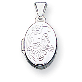 Sterling Silver Butterfly Oval Locket. Price: $29.37