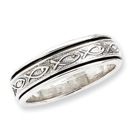 Sterling Silver Antiqued Band With Fish. Price: $40.06