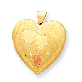 14K Gold Filled 4-Frame Heart Locket. Price: $42.84
