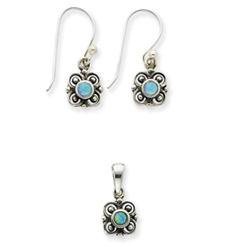 Sterling Silver Created Opal Earring & Pendant Set. Price: $43.35