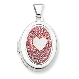 Sterling Silver  Oval Single Heart Plain Light Rose Crystal Locket. Price: $45.16