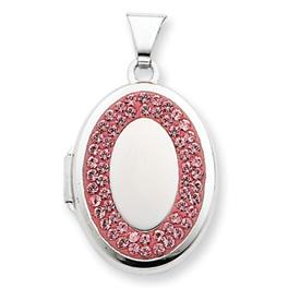 Sterling Silver  Oval Light Rose Crystal Recess Locket. Price: $40.96