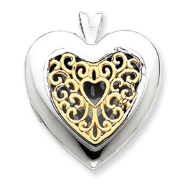 14K Gold & Sterling Silver Filigree Heart Locket. Price: $150.84