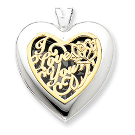 14K Gold & Sterling Silver Heart With  I Love You Locket. Price: $137.34