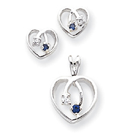 Sterling Silver Blue & Clear CZ Heart Earring & Pendant Set. Price: $57.21