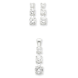 Sterling Silver 3 Stone CZ Earring & Pendant Set. Price: $40.74